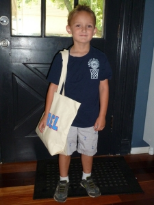 M's Last First Day of Preschool. He already looks little to me in this picture.