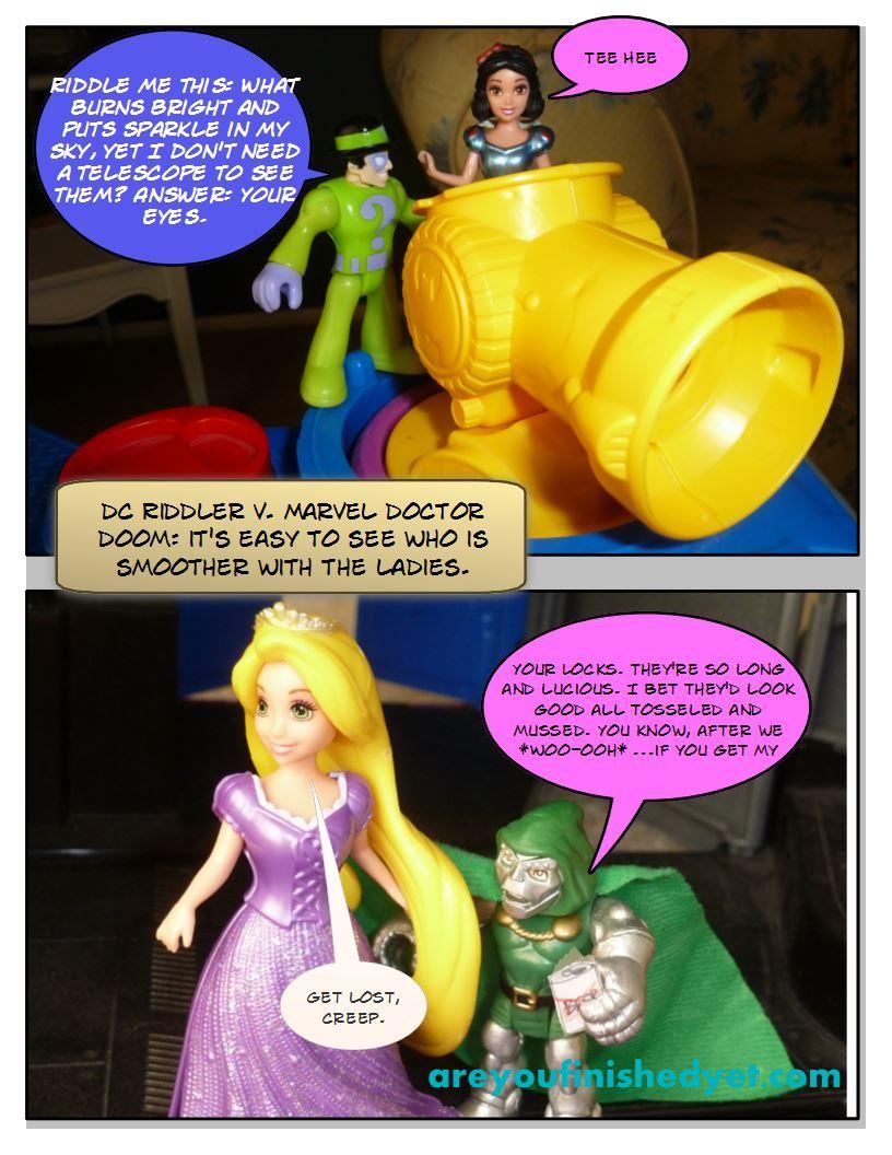 riddler, doctor doom superheroes, rapunzel, snow white