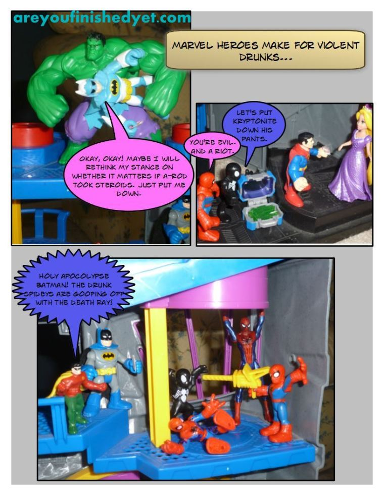 incredible hulk, superman, spiderman, robin